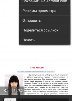 Меню в приложении Adobe Reader